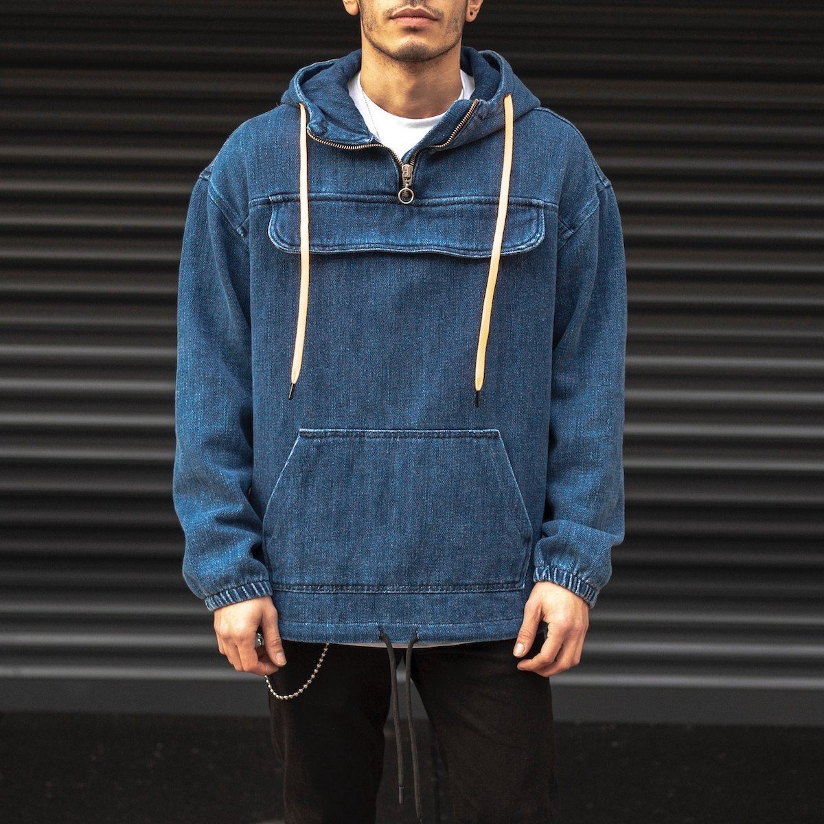 Men's Denim Hoodie In Navy...