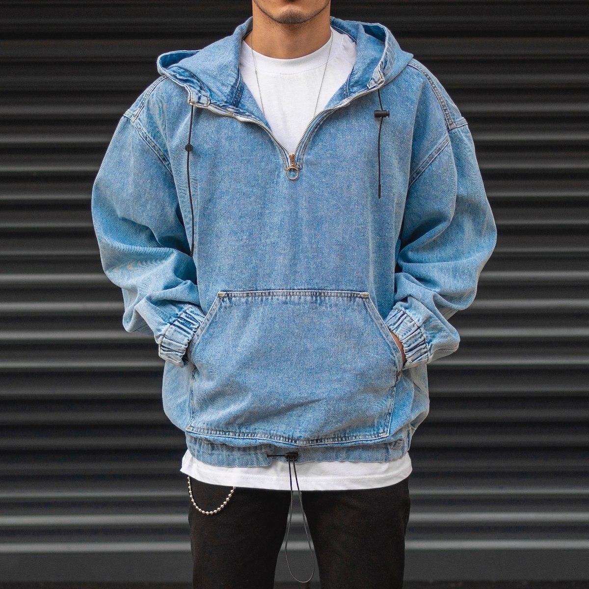 Men's Stitch Detailed Denim Hoodie In Blue