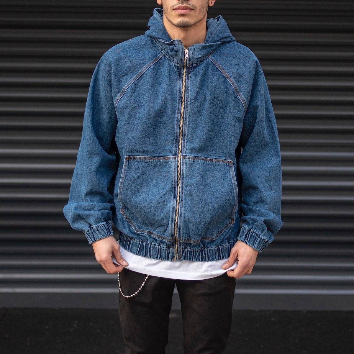 Men's Zipped Denim Jacket In Navy Blue