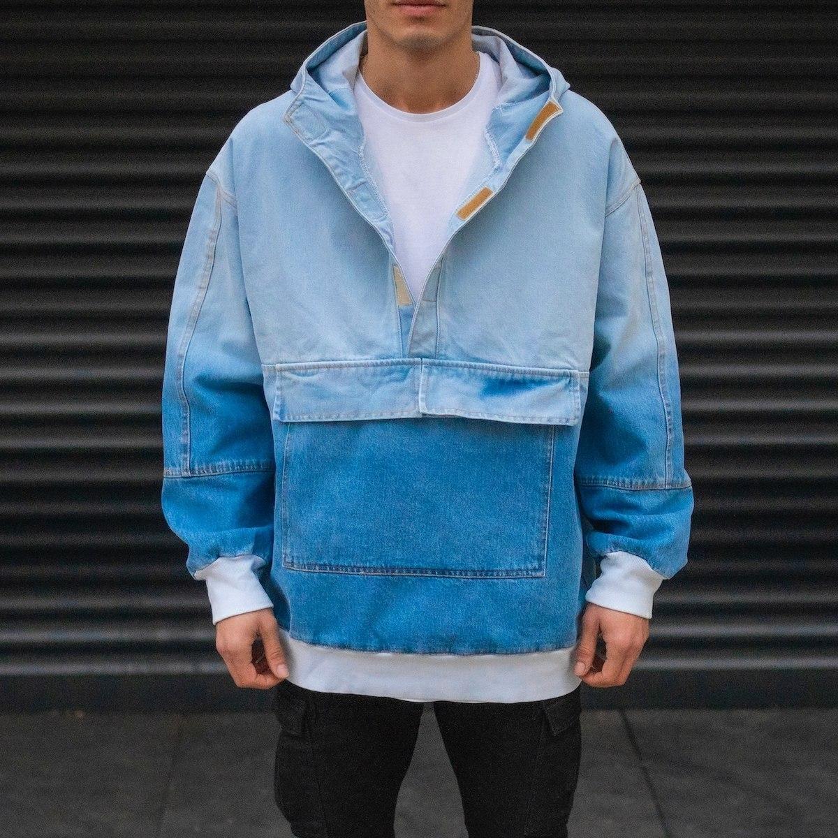 Men's Culture Sweat Gradient Denim Jacket With Kangaroo Pocket In Blue
