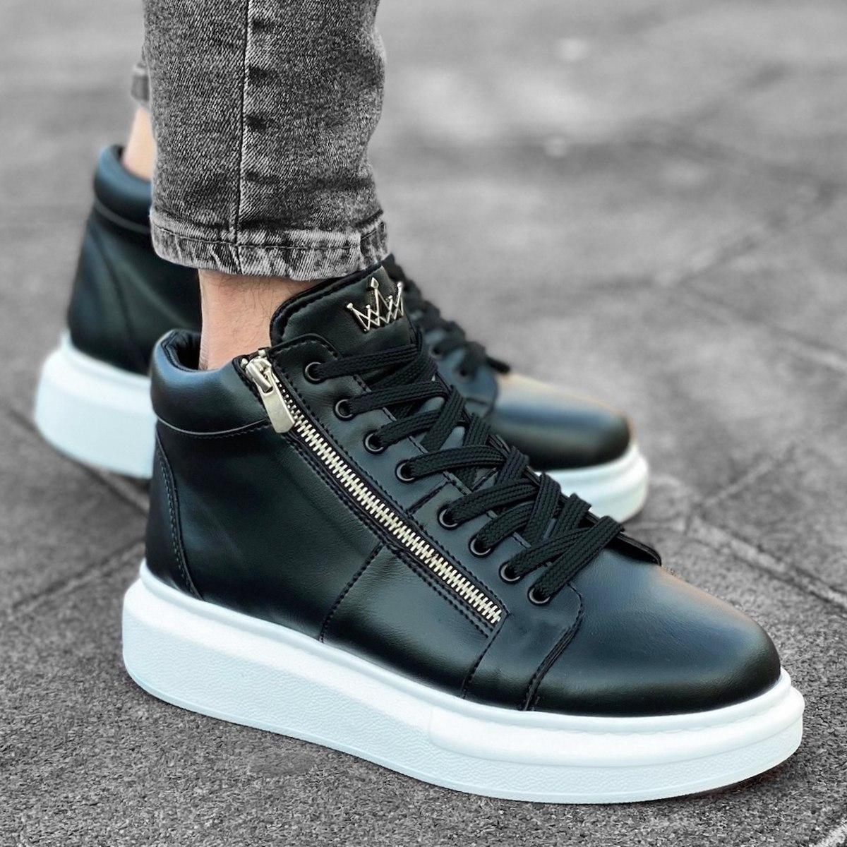 Homem Cano Alto Sneakers Designer Zip Basket Preto-Branco