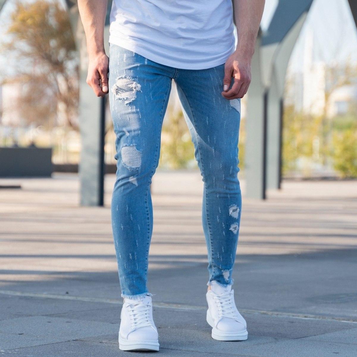 Men's Ragged Jeans In Ice Blue