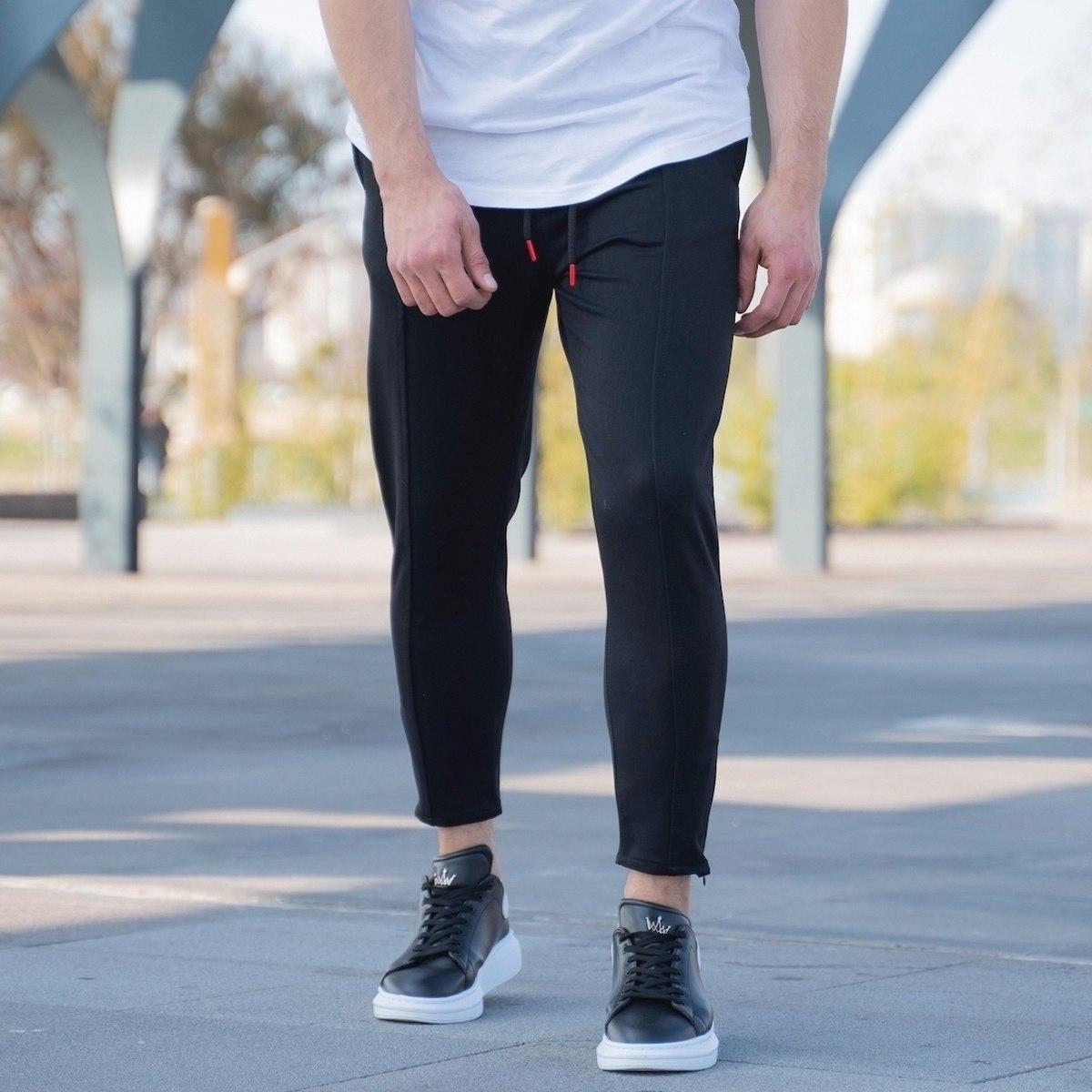 Men's Basic Semi-Shalvar Trousers In Black