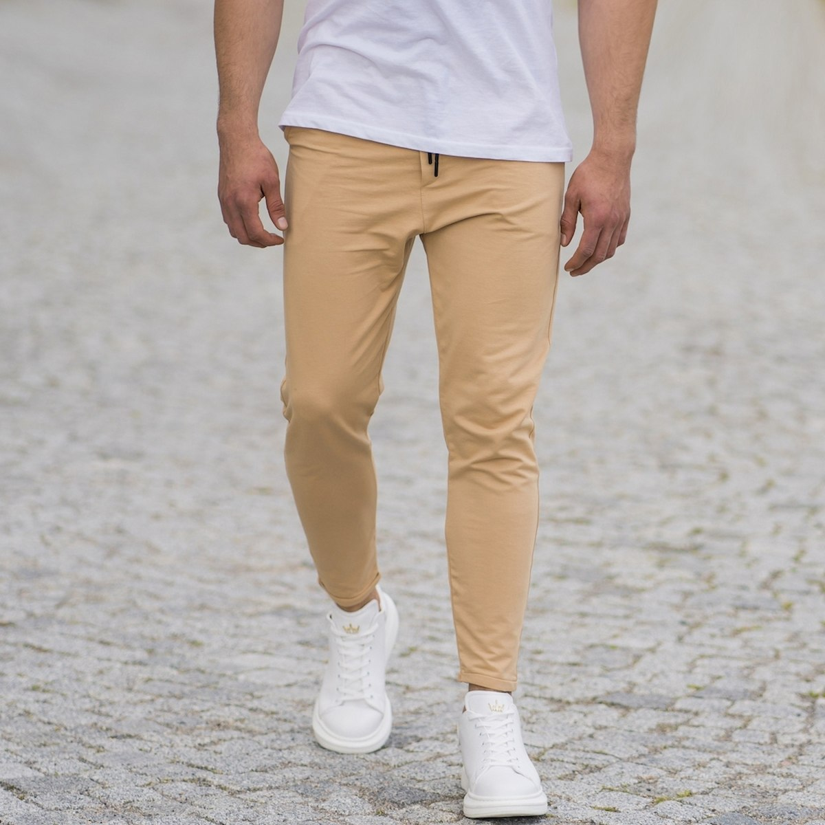 Men's Skinny Basic SweatPants In Beige
