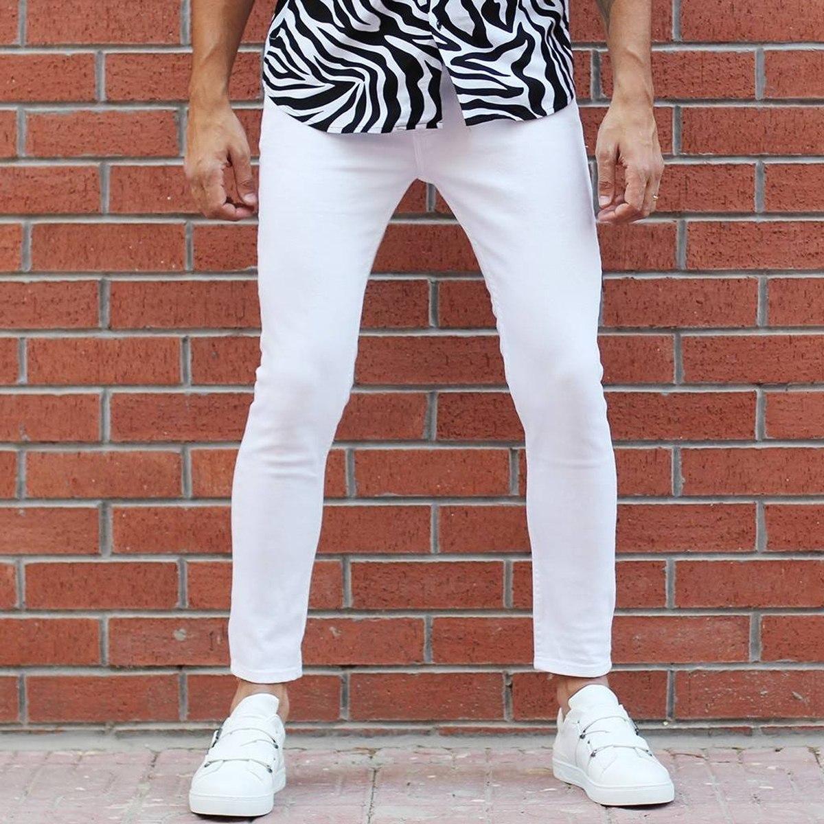 Men's Basic Stretch Jeans Full White