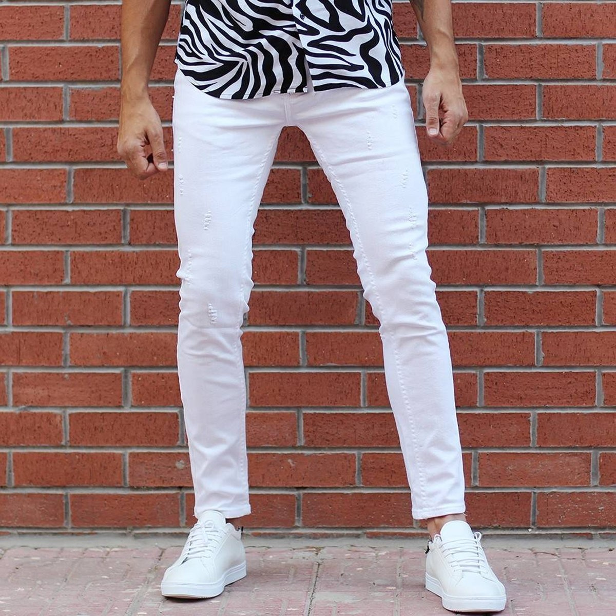Men's Laser Cut Stretch Jeans In White