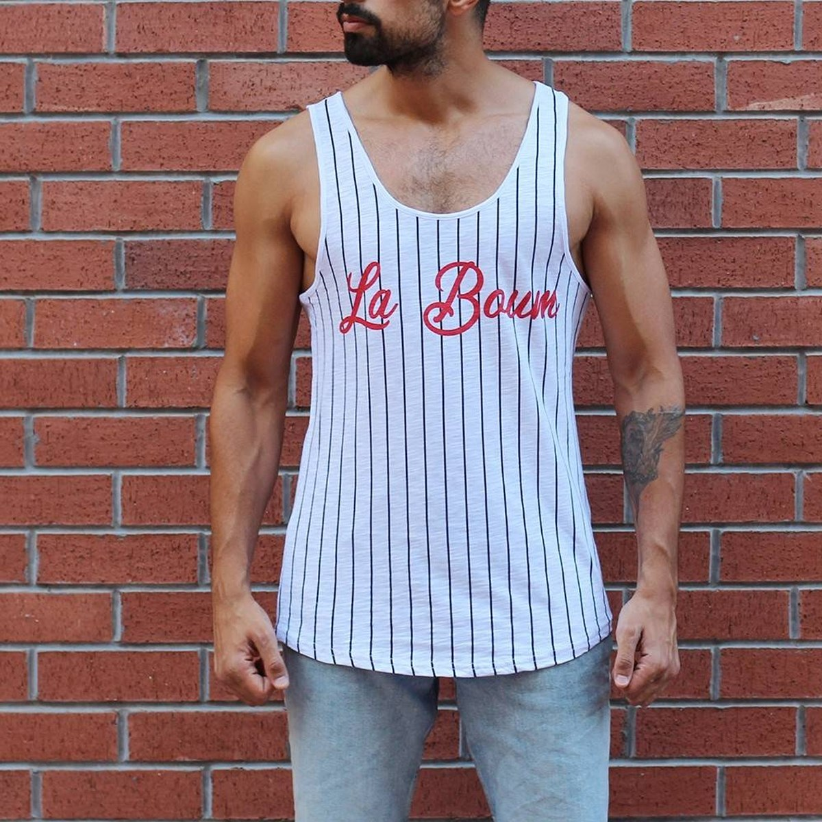 Men's La Boum Printed Striped Tank Top White