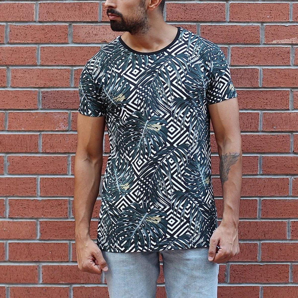 Men's Crew Neck Leaf Pattern T-Shirt