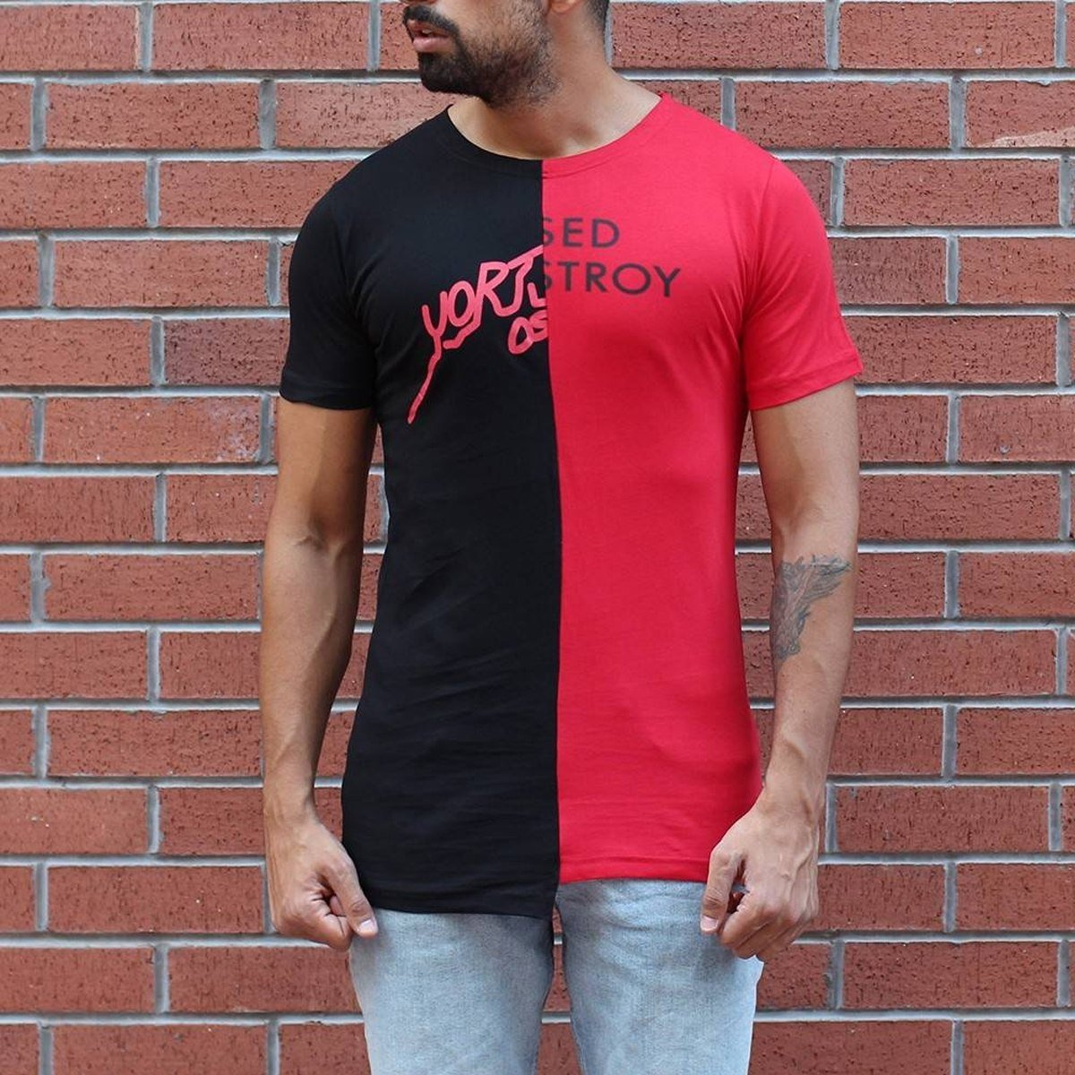 Men's Round Neck Split Color T-Shirt Black&Red