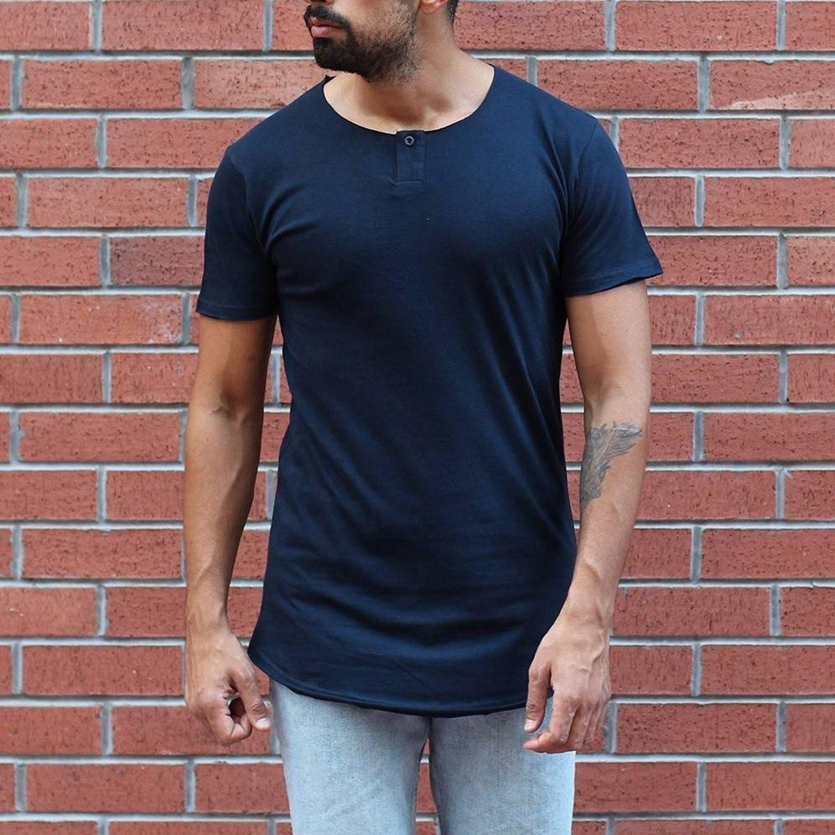 Men's Button Round Neck Oversized T-Shirt Navy