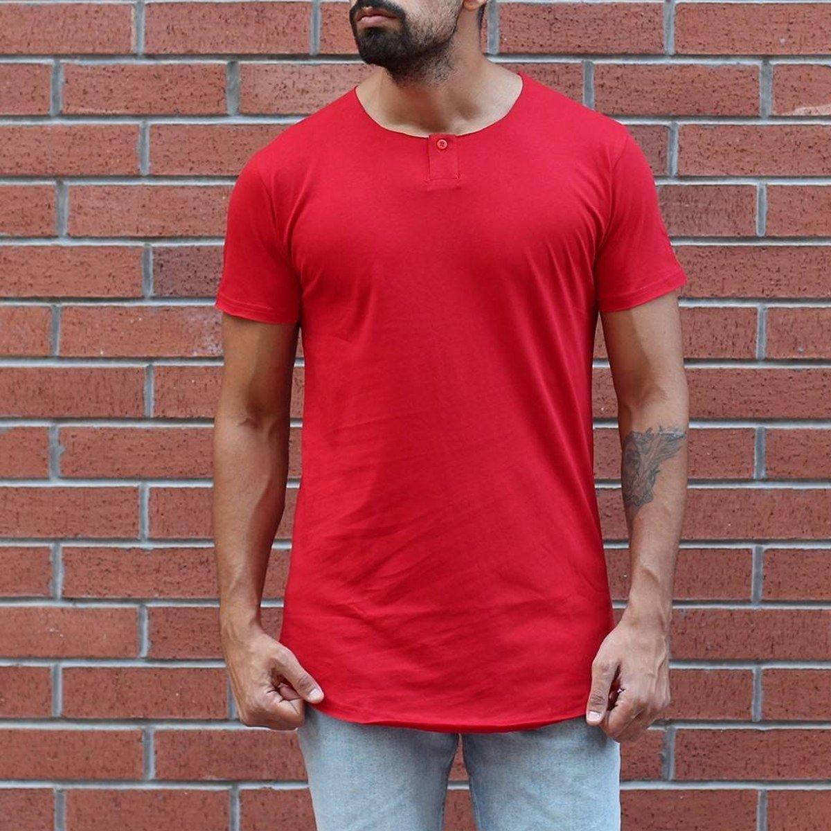 Men's Button Round Neck Oversized T-Shirt Red