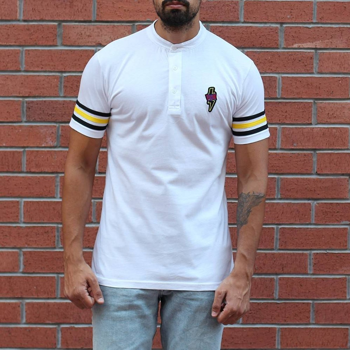 Men's Button Neck Slim Fit T-Shirt With Colored Arm White