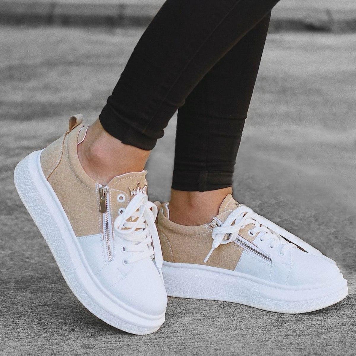 Women's Hype Sole Zipped Style Sneakers In Latte-White