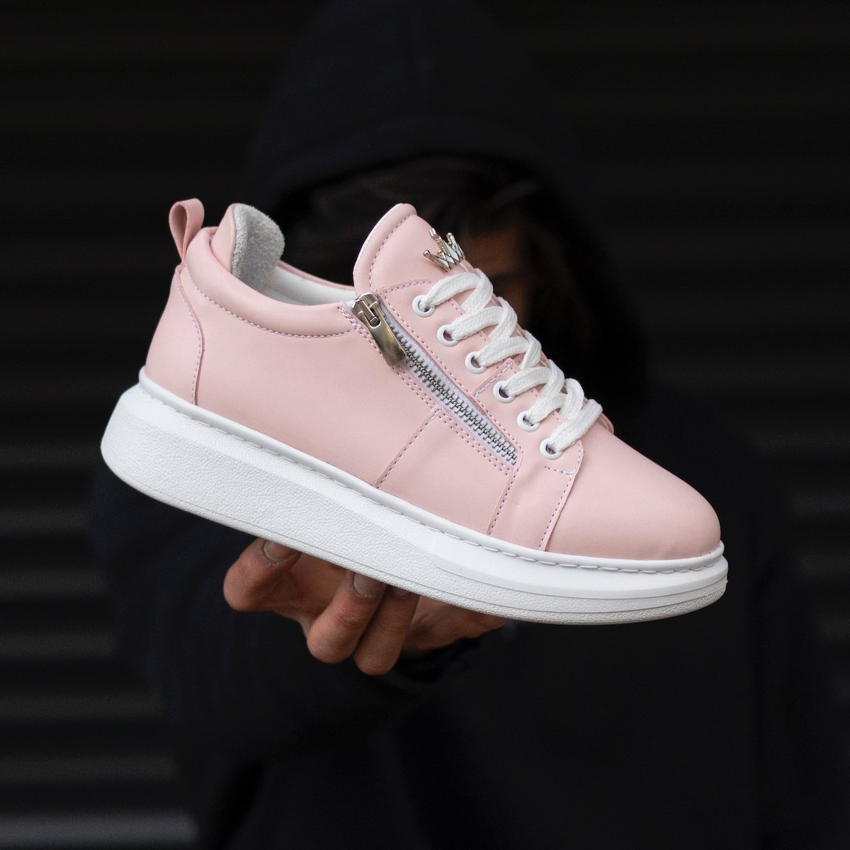 Woman Hype Sole Zipped Style Full Pink Sneakers