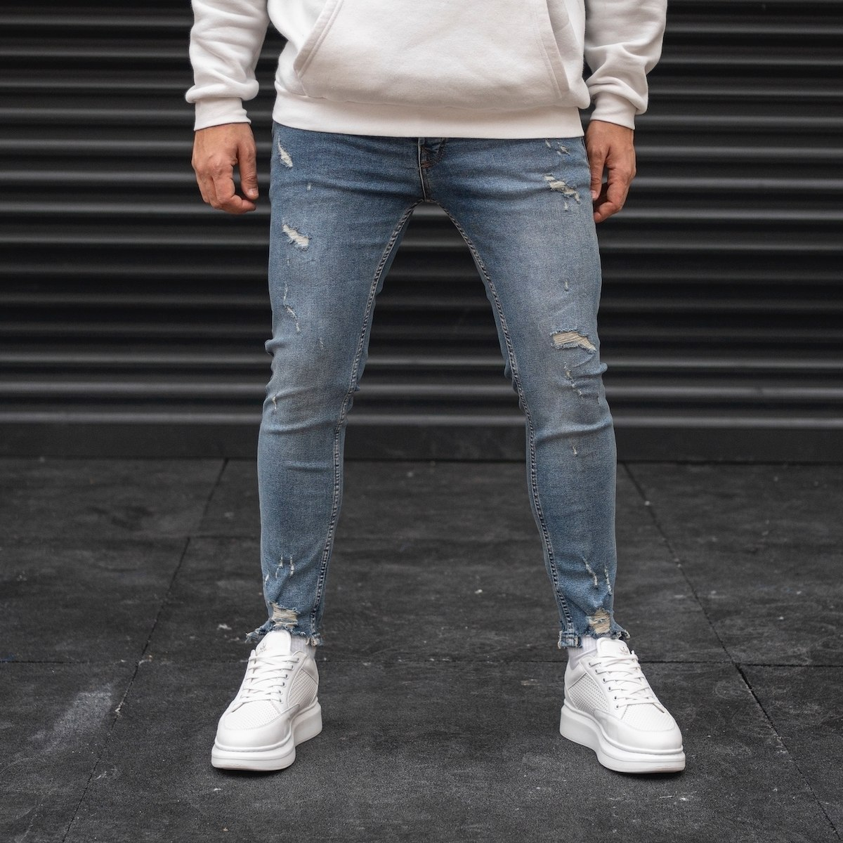 Men's Distressed Jeans With...