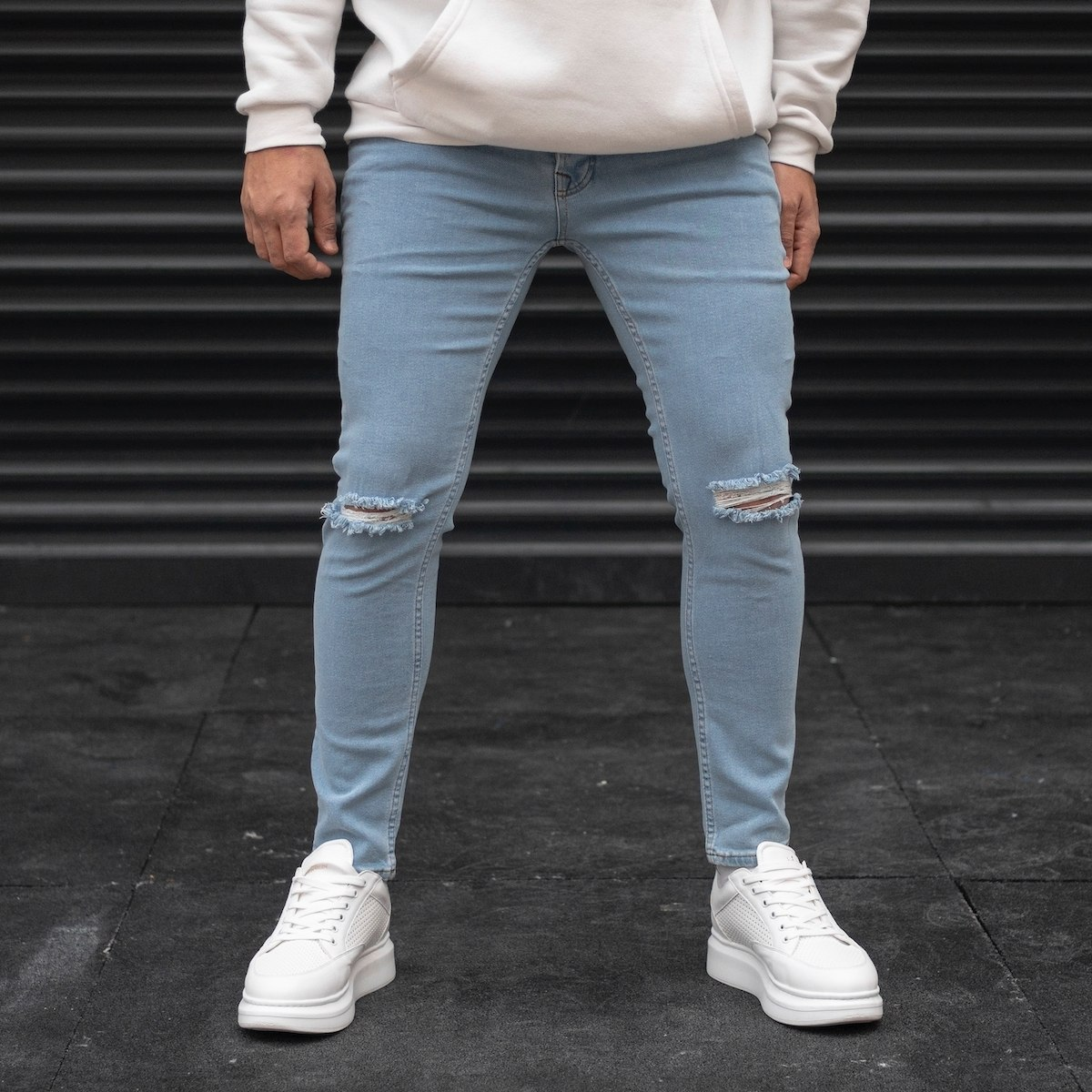 Men's Ripped Jeans In Light...