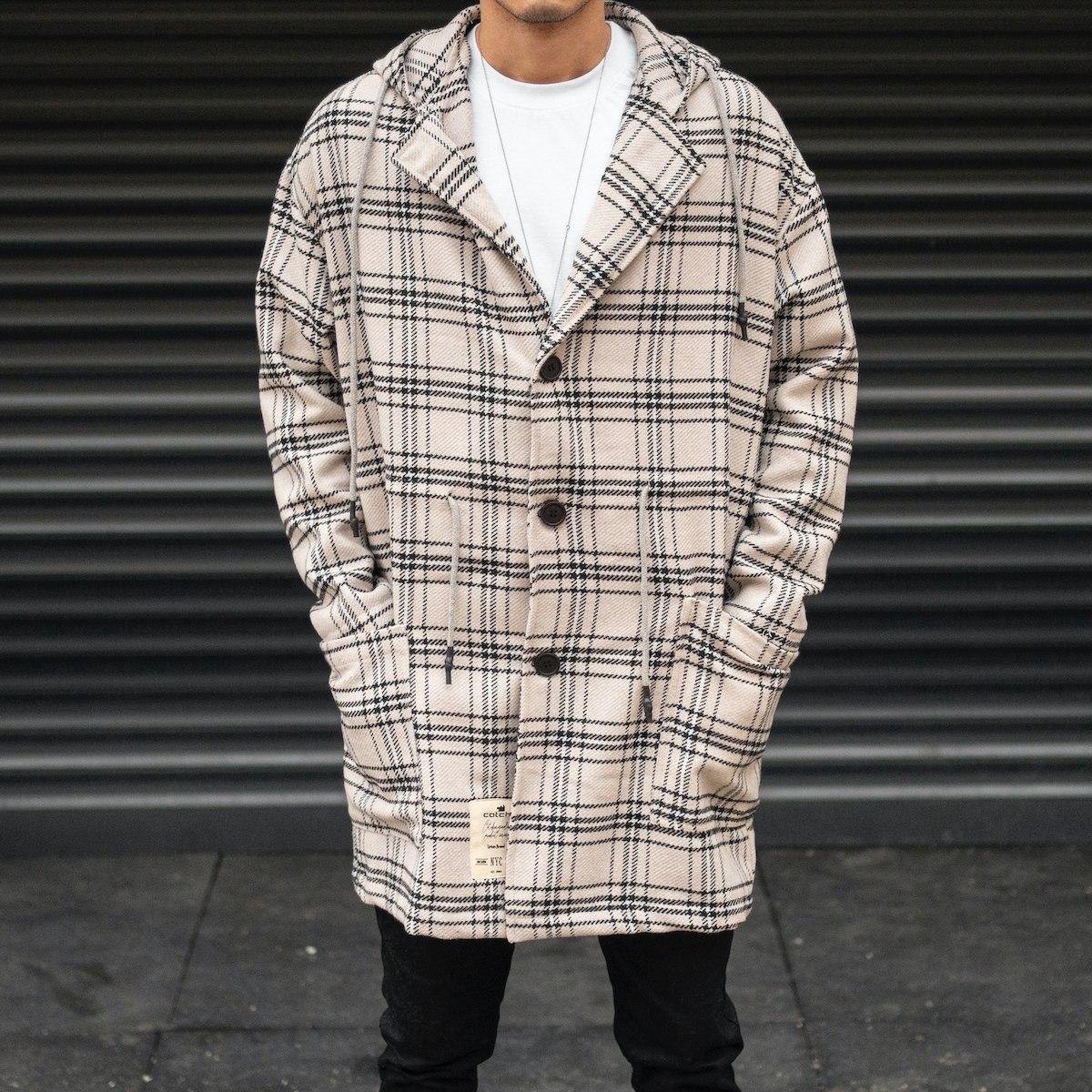 Men's Plaid Long Coat In...