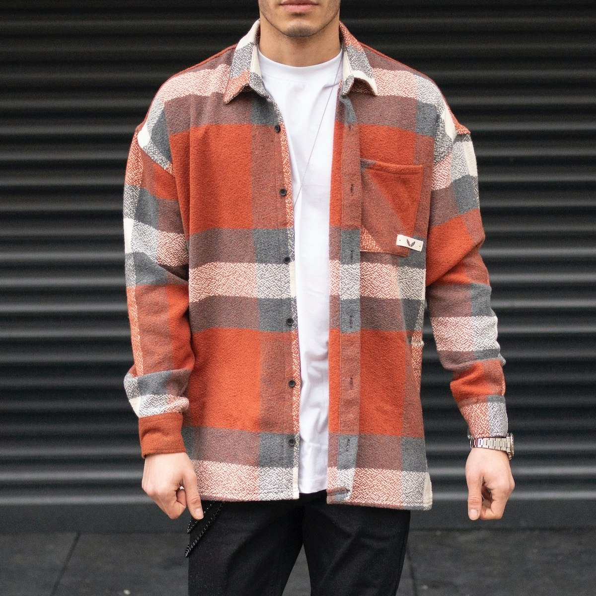 Men's Oversize Plaid Shirt...