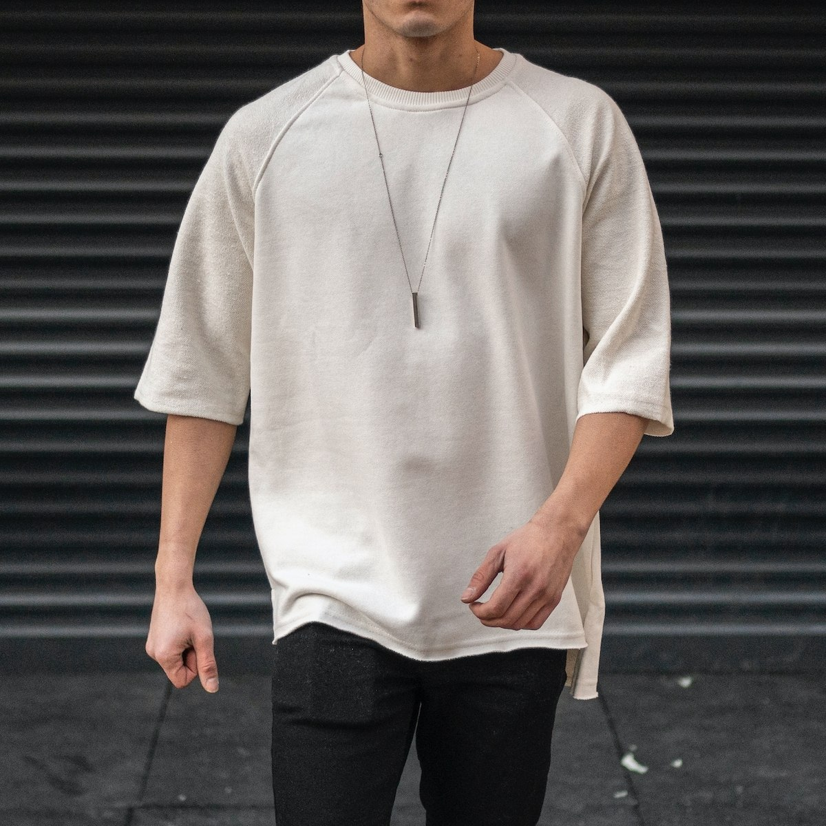 Men's Long Cut Slit T-Shirt...