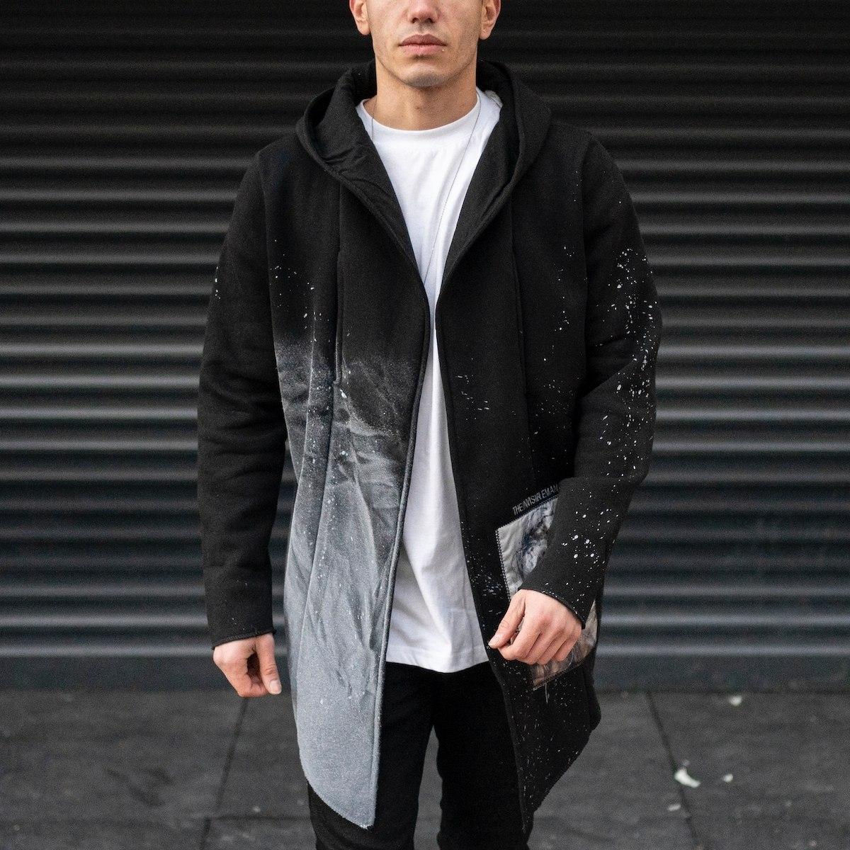 Men's Cardigan Poncho With Paint Splash In Black