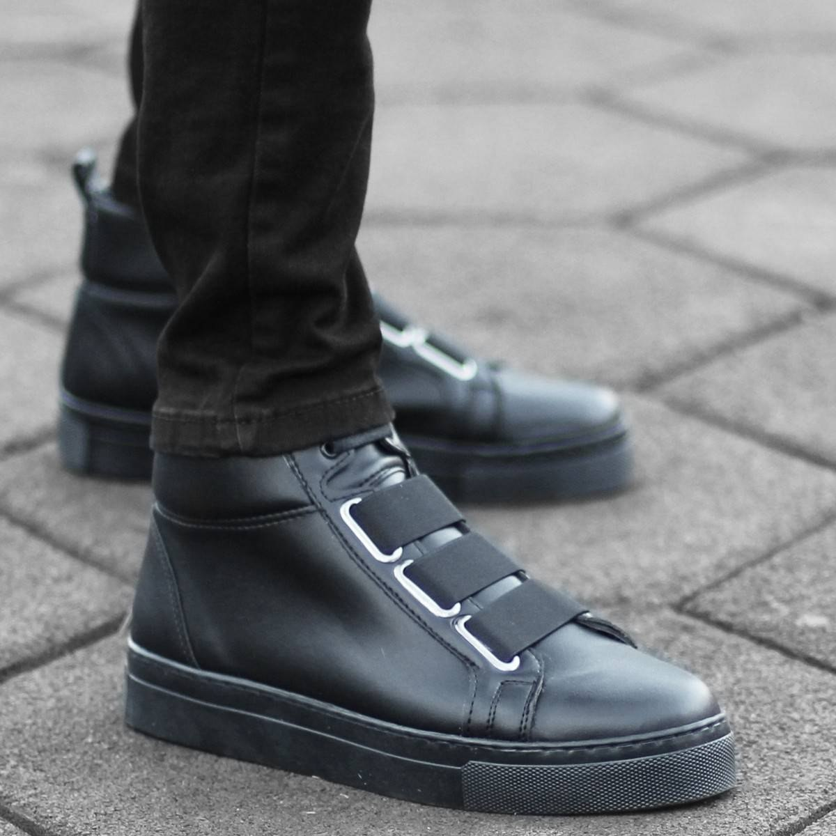 Herren Boots Stiefel Mit Bandverschluss In Schwarz Mv Premium Brand - 1