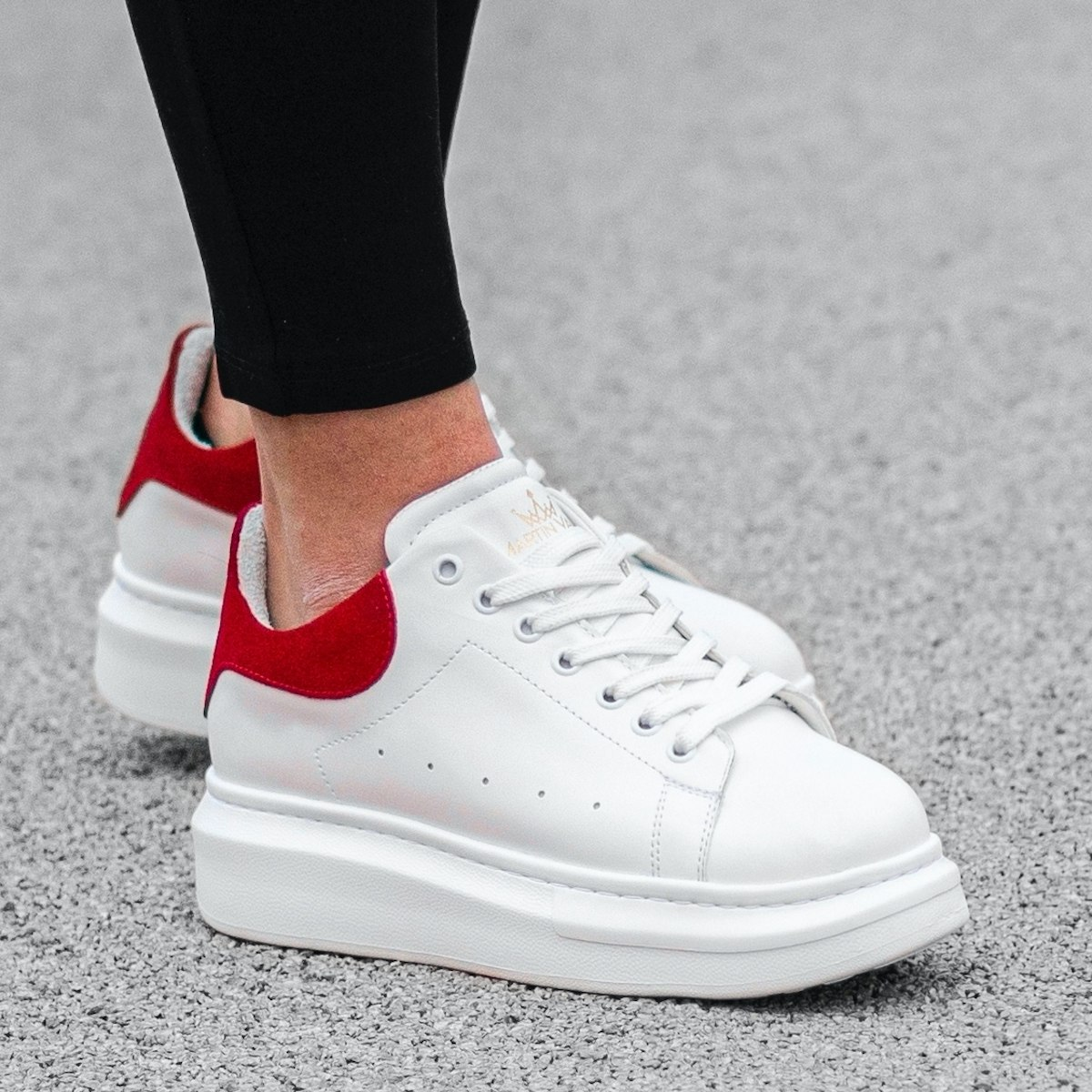 Martin Valen Women High Sole Sneakers White&Red