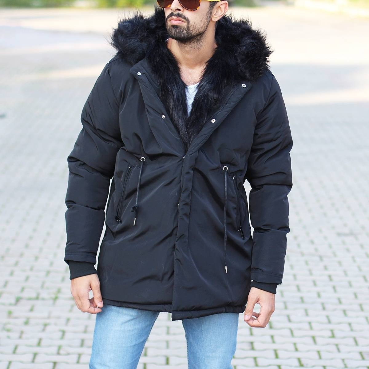 Winter Furry Puffy Coat Black Mv Premium Brand - 9