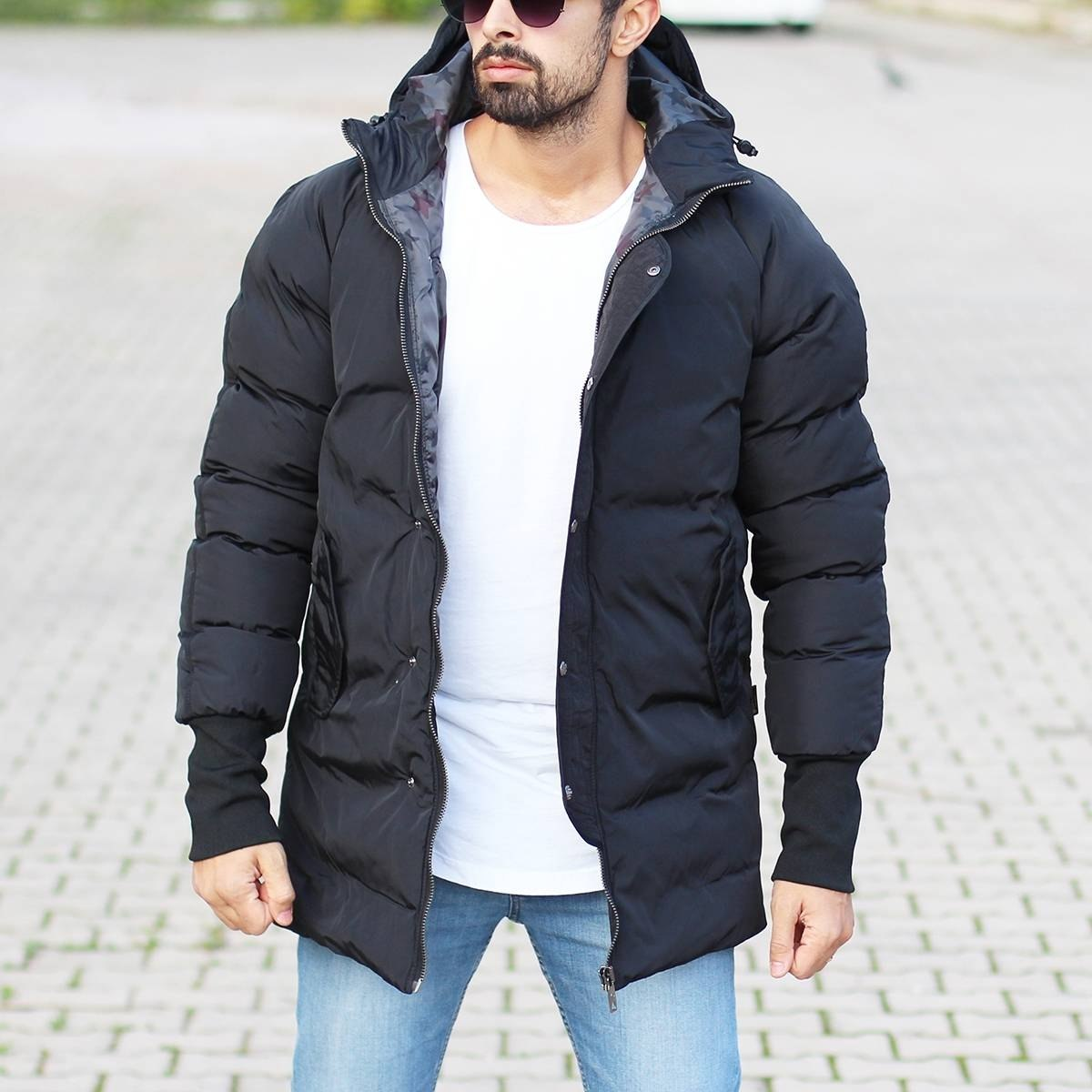 Men's Hooded Puffer Winter Coat In Black Mv Premium Brand - 1