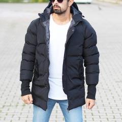 Hooded Puffer Winter Coat In Black Mv Premium Brand - 1