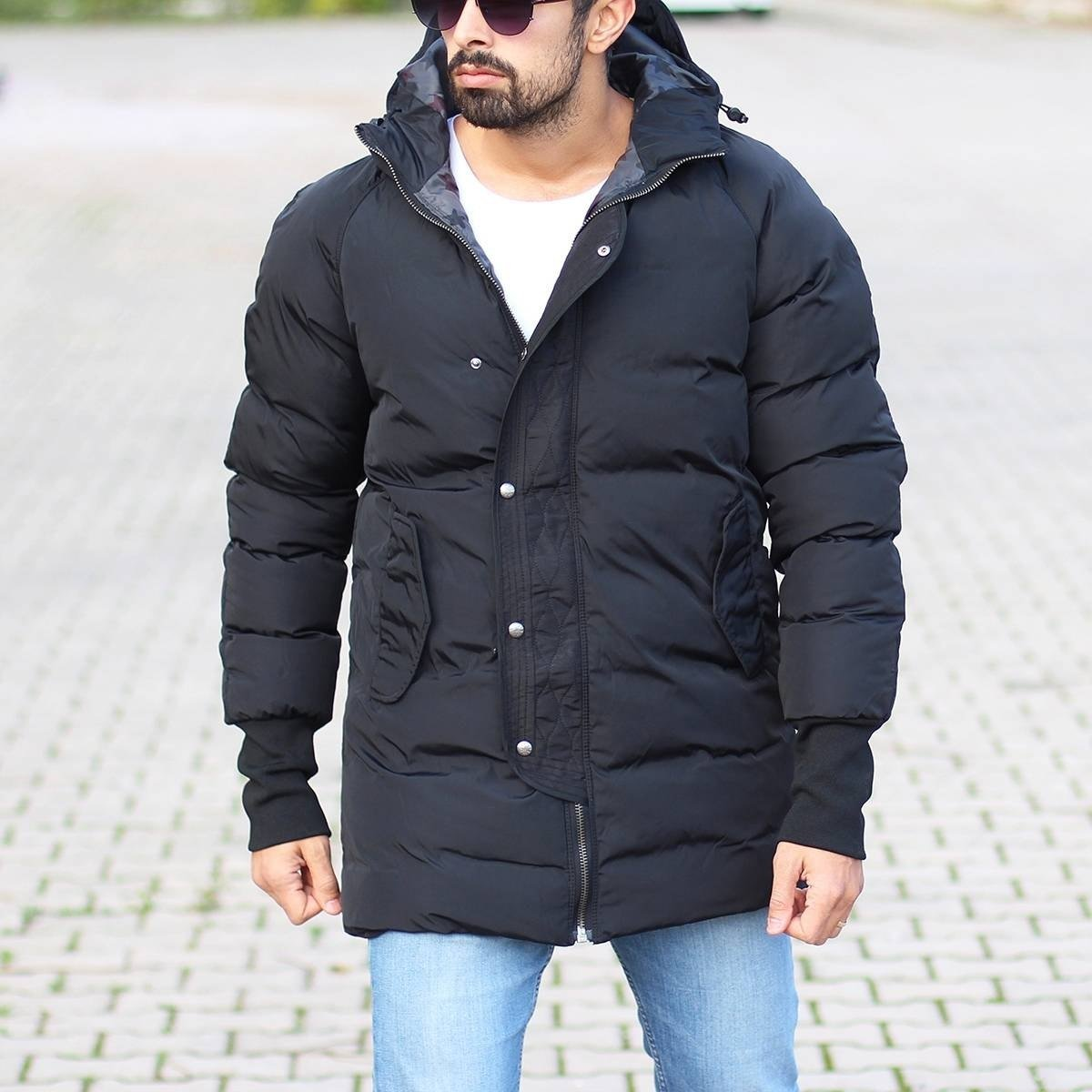 Men's Hooded Puffer Winter Coat In Black Mv Premium Brand - 2