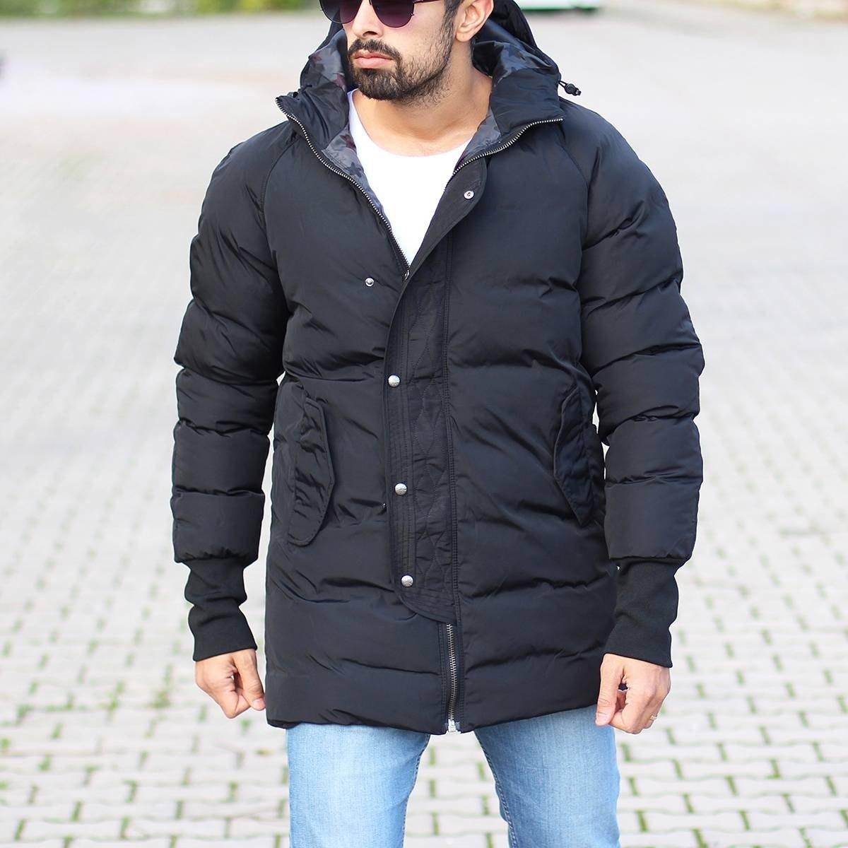 Hooded Puffer Winter Coat In Black Mv Premium Brand - 2