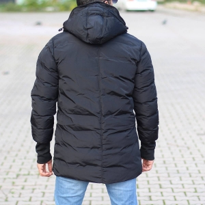 Men's Hooded Puffer Winter Coat In Black Mv Premium Brand - 3