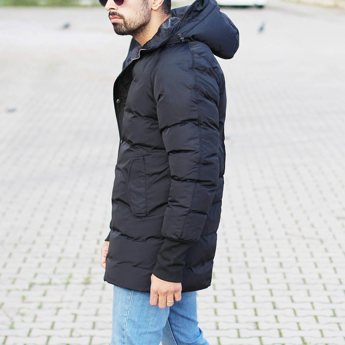 Men's Hooded Puffer Winter Coat In Black Mv Premium Brand - 4