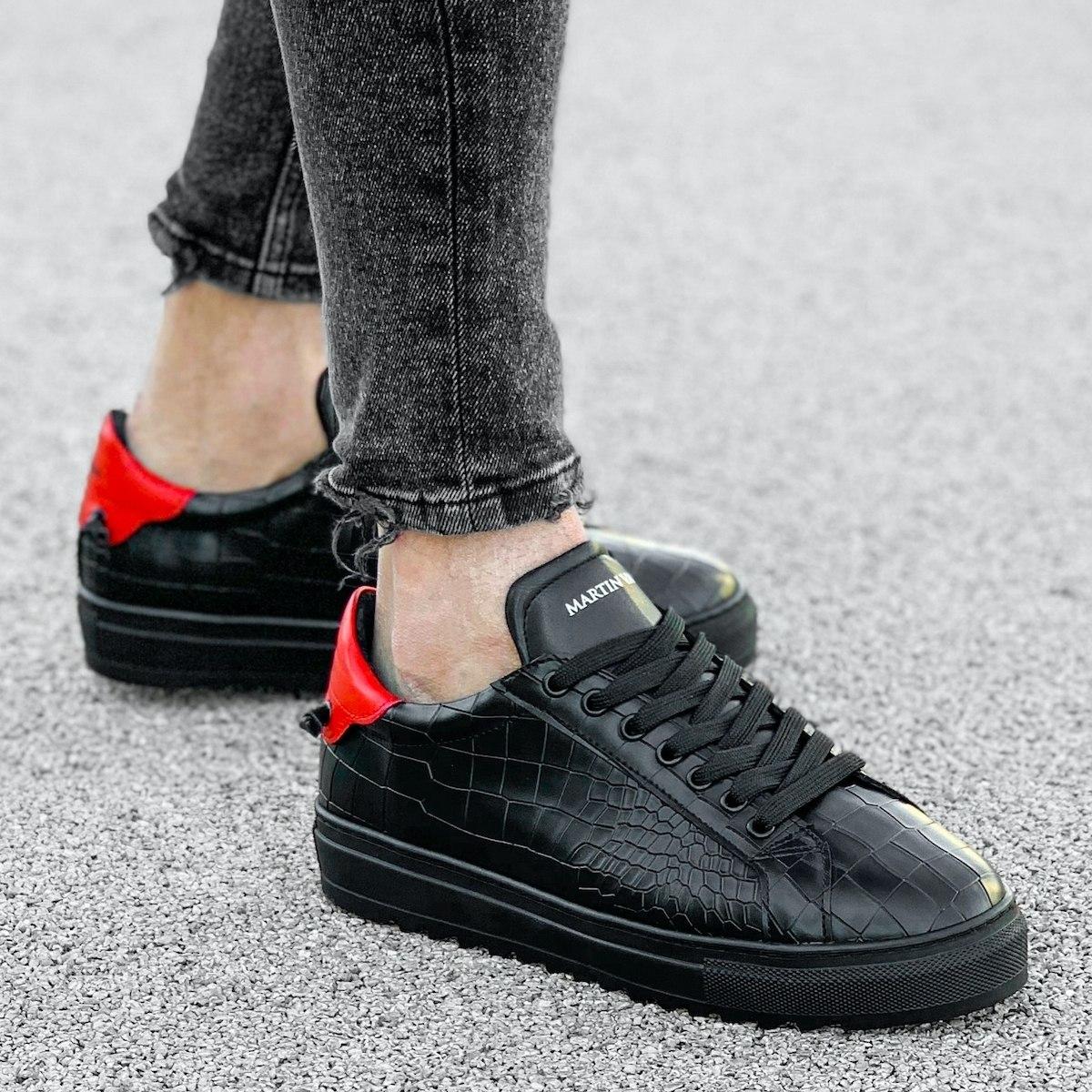 Homem Cano Baixo Croco Sneakers Basket Preto-Vermelho