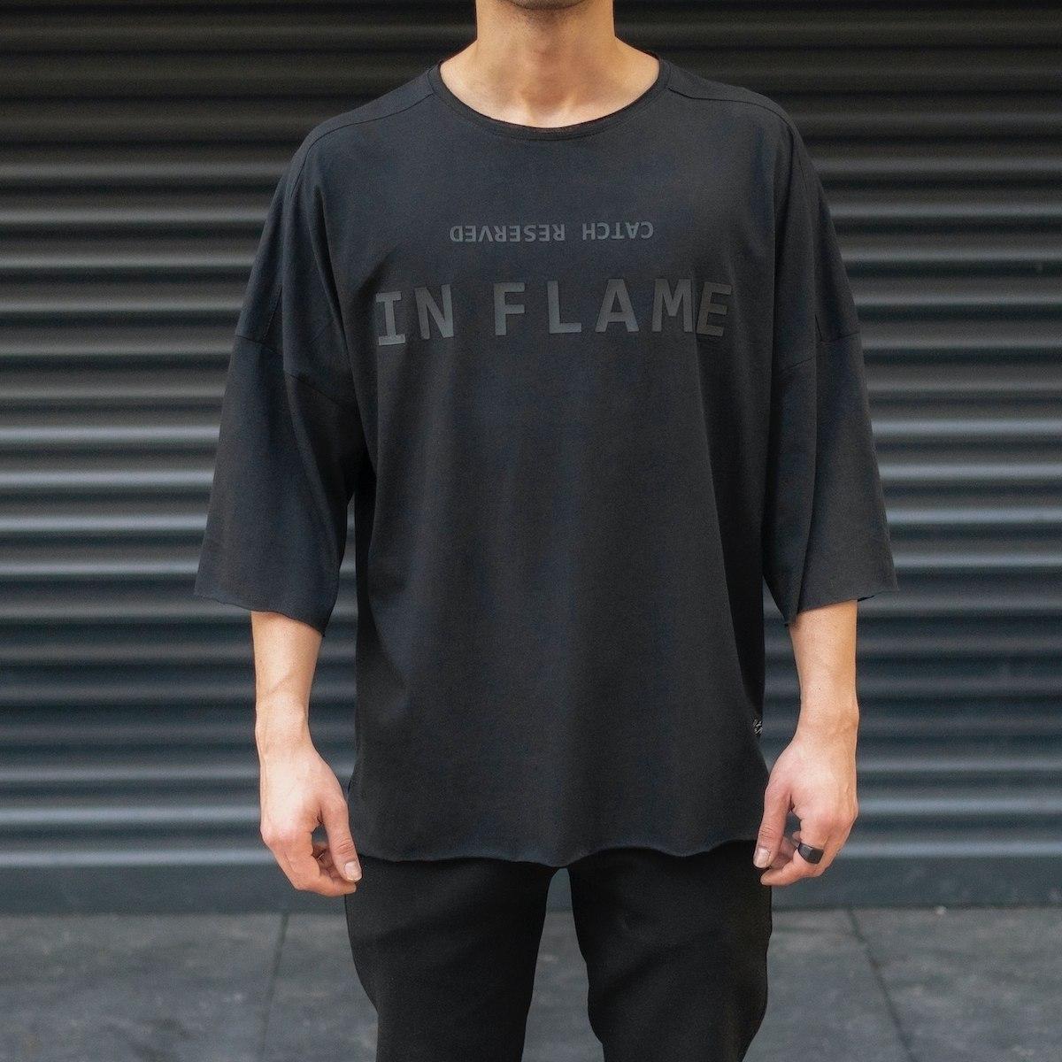 Men's Oversize T-Shirt Round Neck Text Printed Black