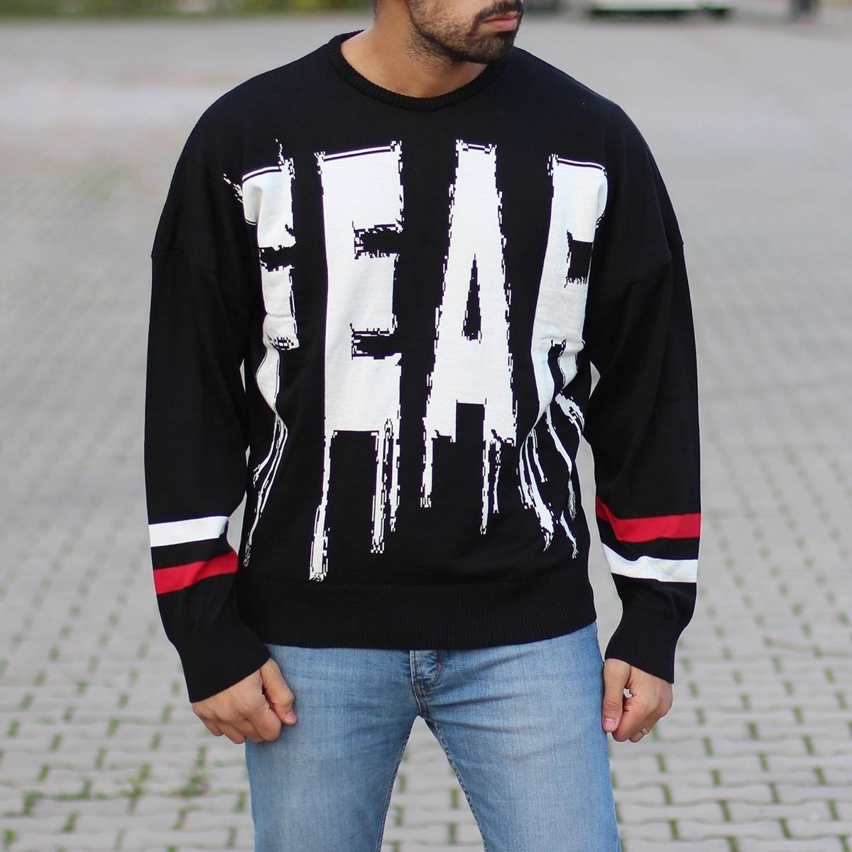Men's Fear Pullover Black Mv Premium Brand - 1
