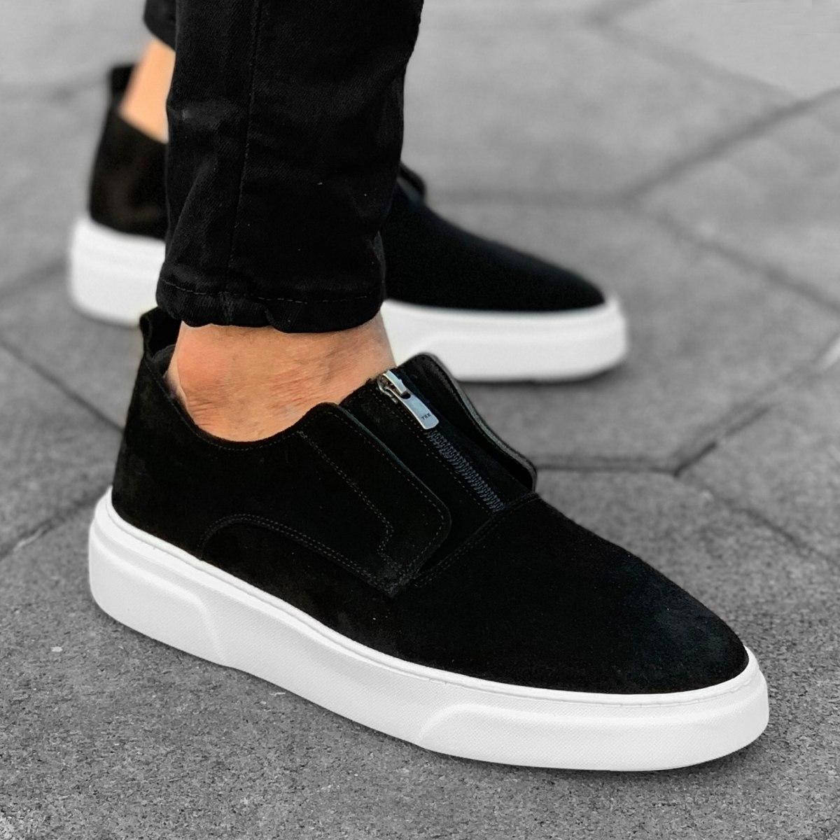 Hombre Diseñador Zapatillas Cuero Gamuza Negro-Blanco