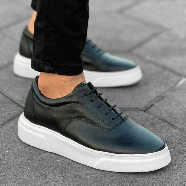 Premium Leather Casual Sneakers in Black White Mv Premium Brand - 1