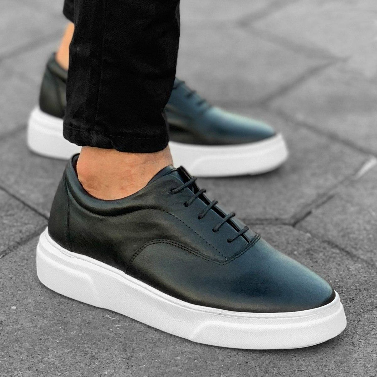 Hombre Zapatillas Cuero Negro-Blanco