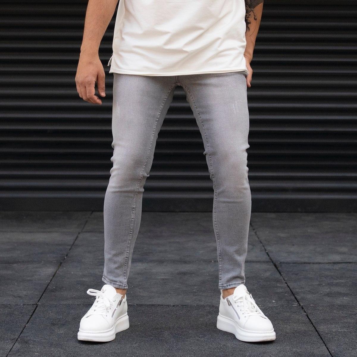 Men's Distorted Grey Basic Jeans