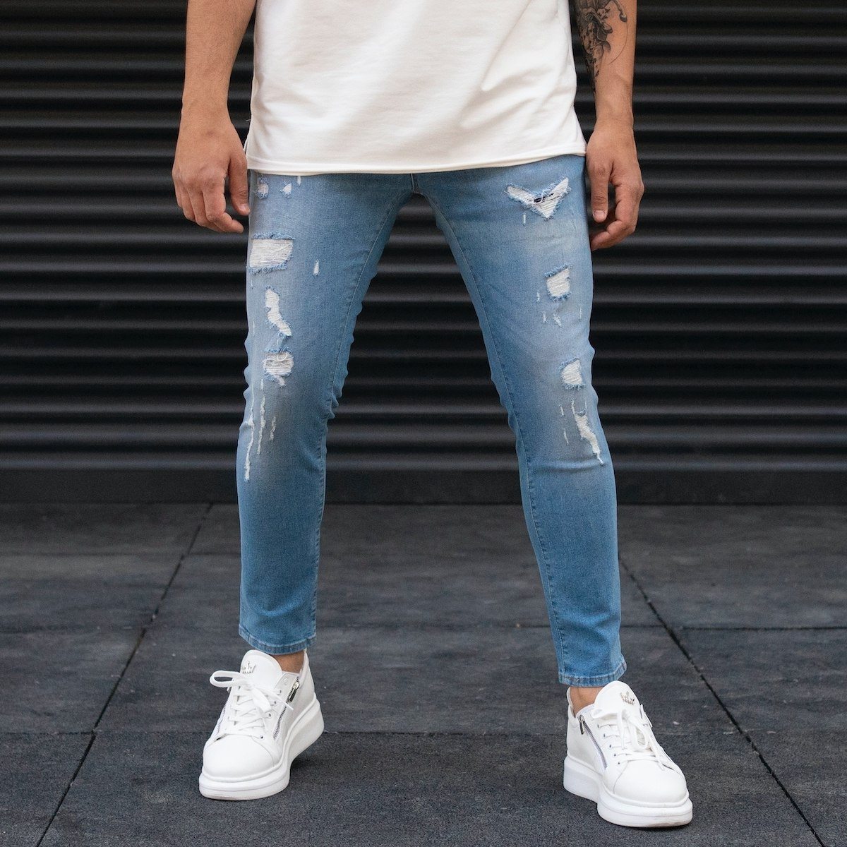 Men's Ripped Blue Jeans