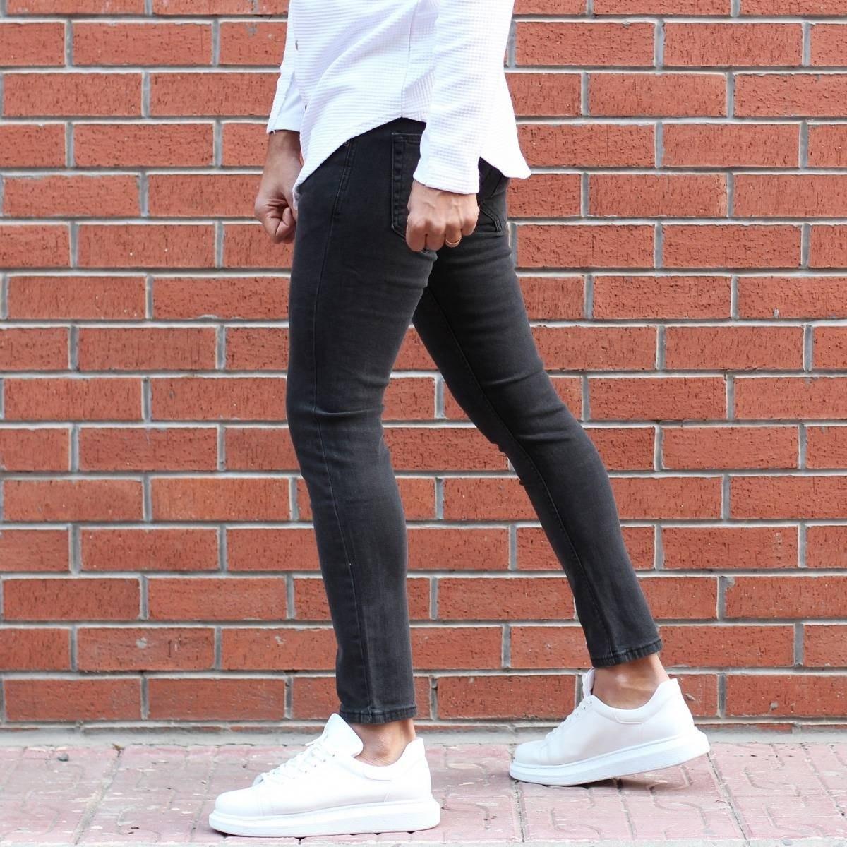 Men's Lycra Narrow Leg Jeans In Fume Mv Premium Brand - 2