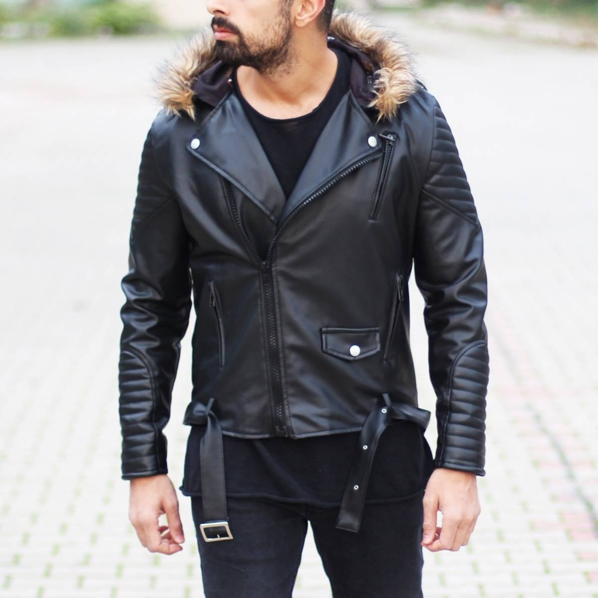 Furry Hooded Leather Jacket...