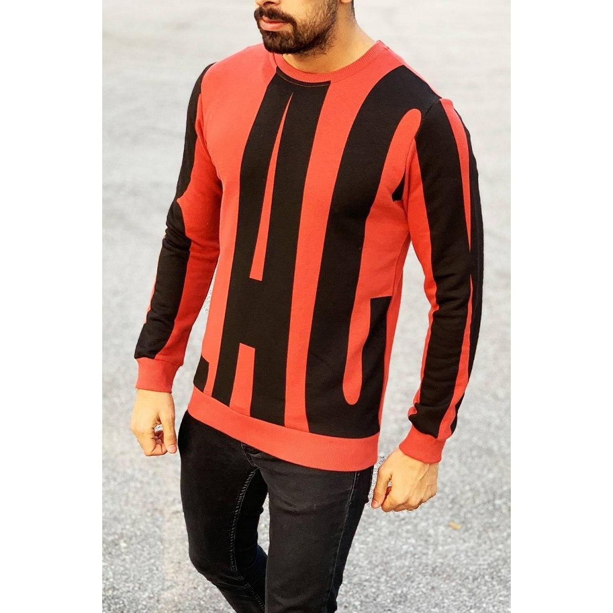 Black Bold Print Sweatshirt in Red