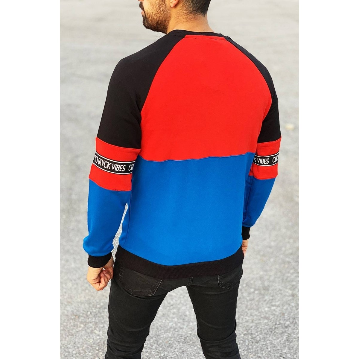 Blvck Vibes Sweatshirt in Red&Blue Mv Premium Brand - 1