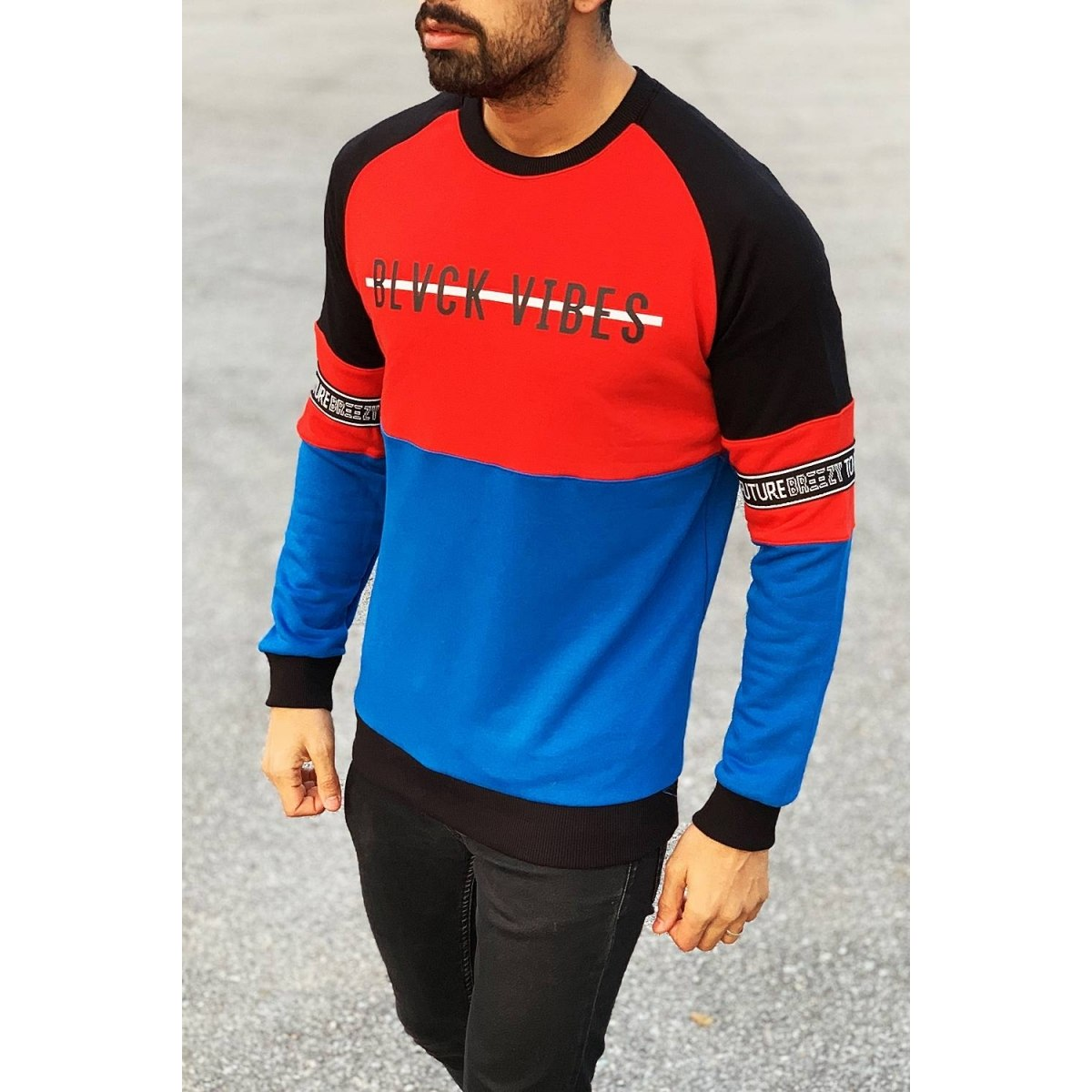 Blvck Vibes Sweatshirt in Red&Blue Mv Premium Brand - 2