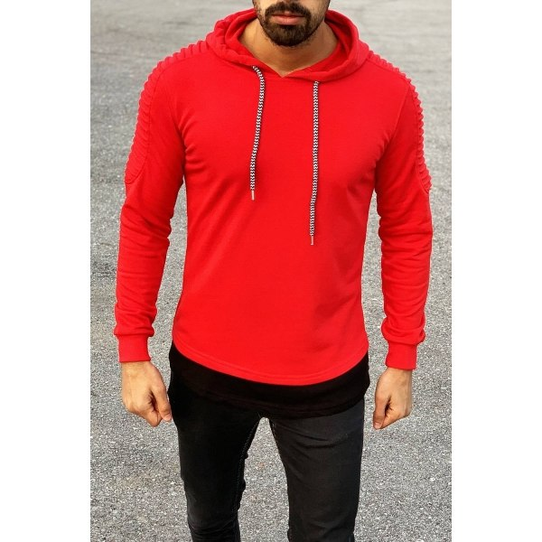 Ribbed Shoulder Hoodie in Red