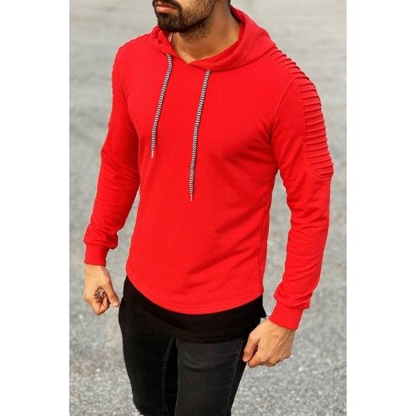 Ribbed Shoulder Hoodie in Red