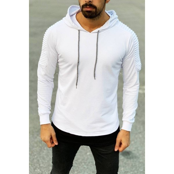 Ribbed Shoulder Hoodie in...