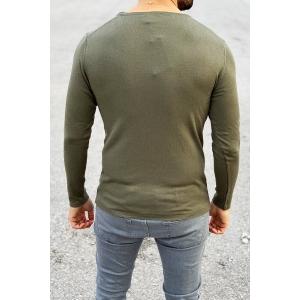 Men's Basic Spring Sweatshirt In Khaki Mv Premium Brand - 1